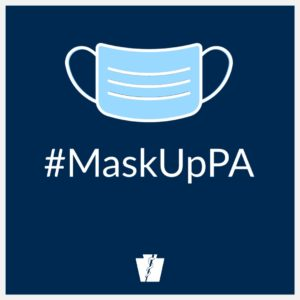 Drawing of a medical mask with the caption #MaskUpPA