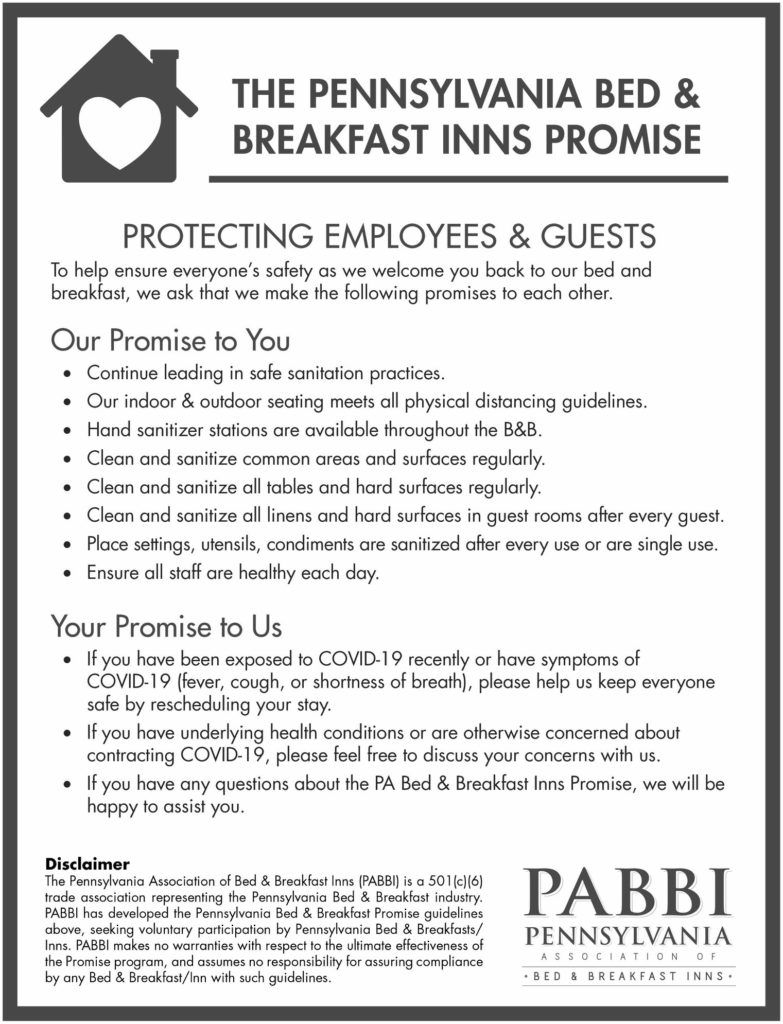 PA B&B Promise regarding COVID-19