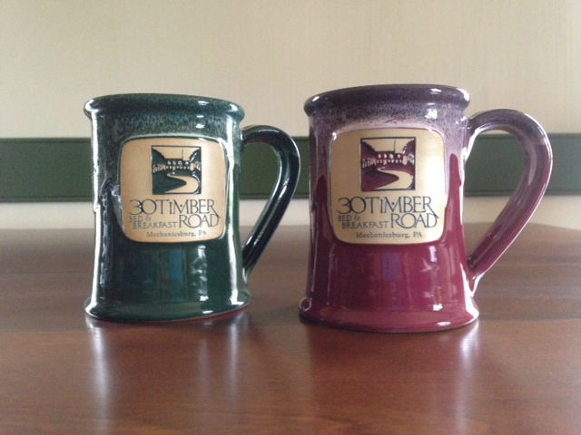 New mugs for 30 Timber Road Bed & Breakfast from Deneen Pottery.