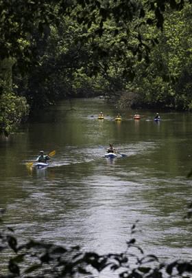 Kayakers on the Conodoquinet Creek near Carlisle PA
